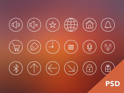 Round Outline Icon Set PSD