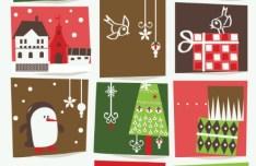 Set Of Cartoon Merry Christmas Illustrations