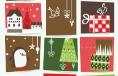 Set Of Cartoon Merry Christmas Illustrations