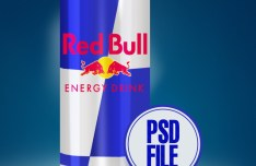Red Bull Can Mockup PSD