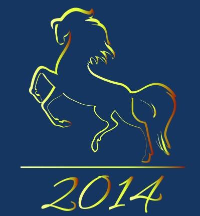 Happy New Year 2014 Horse Design Vector 03