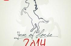 Happy New Year 2014 Horse Design Vector 05
