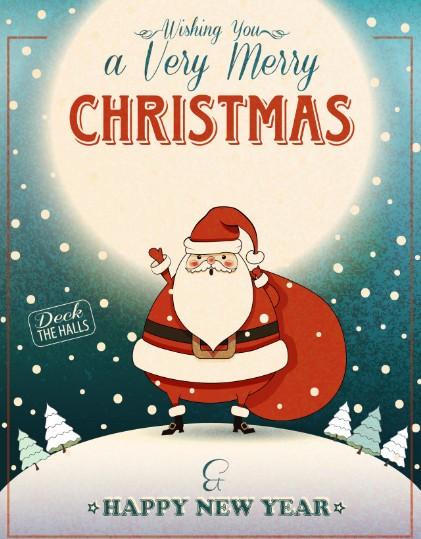 Retro Vintage Christmas & Happy New Year Poster Vector 02
