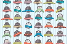 Set Of Vintage Badges Labels with Ribbons PSD