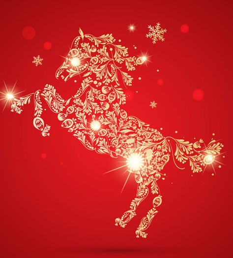 Shiny Gold Horse Of Flowers Vector