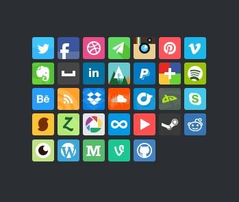 Bean Social Media Icons PSD
