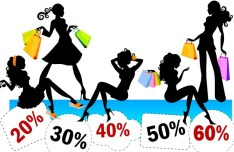 Fashion Shopping Girl Silhouettes Vector