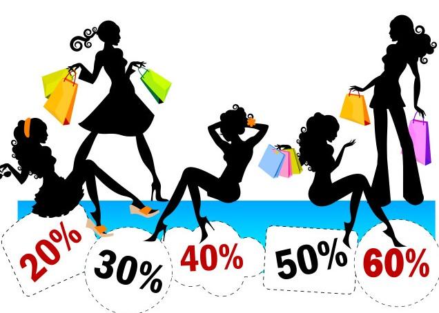 Fashion Shopping Girl Silhouettes Vector