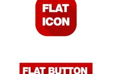 Flat Long Shadow Icon & Button Template PSD