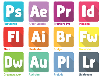 Adobe Products Dock Icons Vector