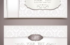Vintage Light Pink Invitation Cards Vector