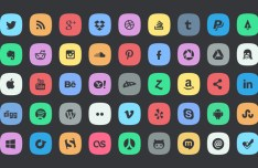 45 Rounded Flat Social Icons PSD