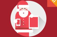 Flat Long Shadow Santa Claus Vector