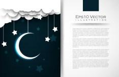 Night Moon and Stars Illustration Vector 01