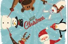 Cute Vintage Merry Christmas Card Vector