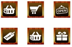10 Wooden Shopping Icons