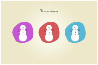 Colored Cartoon Snowman Icons PSD