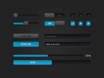 Dark Blue UI Components PSD