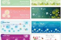 Set Of Spring Flower Banners Headers Vector