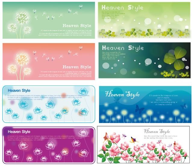 Set Of Spring Flower Banners Headers Vector