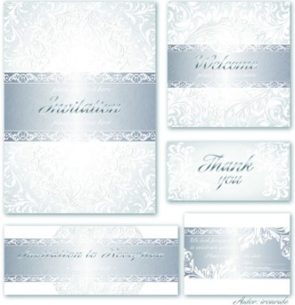 Set Of Vector Silver Royal Invitation Card Backgrounds Vector