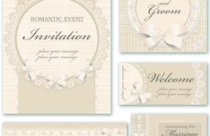Vintage Light Gold Invitation Cards Vector
