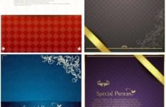 4 Elegant Floral Card Design Templates Vector