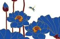 Blue Lotus Flowers Vector Line Art