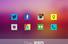 Flat Square Android Icons PSD
