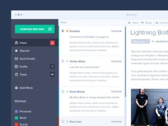 Mail App Interface Design PSD