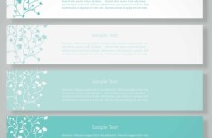 Set Of Fresh Green Floral Banners Vector