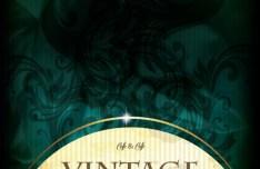 Vintage Dark Blue Floral Background with Golden Label Vector