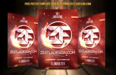 Red Flame Poster Template PSD