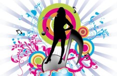 Dancing Girl Silhouette with Floral Background Vector 02