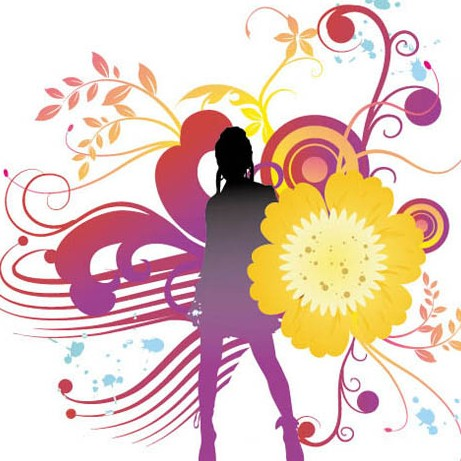 Dancing Girl Silhouette with Floral Background Vector 03