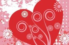 Red Love Hear with Splash Flower Background Vector 01