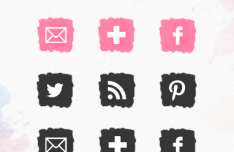 Cute Watercolor Social Icons