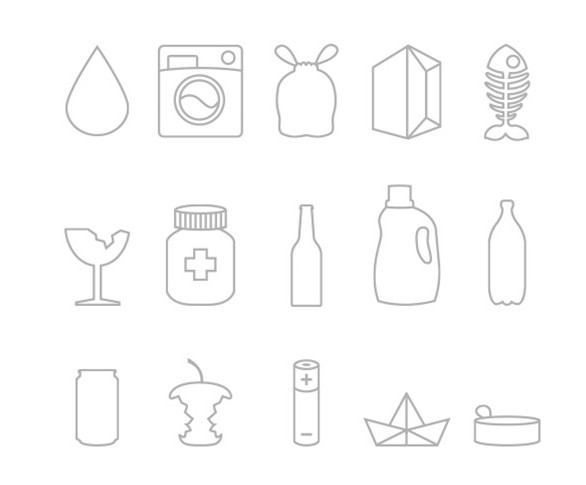 Waste Recycling Icon Set Vector
