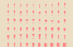 Set Of Wineglass Icons PSD