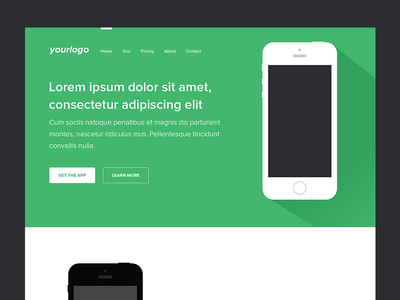 Green and White Mobile App Landing Page PSD