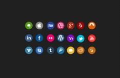 21 Minimal Flat Circle Social Icons PSD