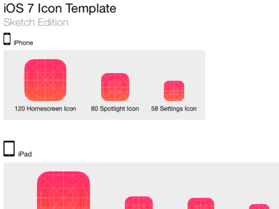iOS 7 Icon Template For iPhone and iPad PSD