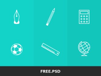 6 Elementary School Icons PSD
