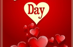 Happy Valentine's Day Glossy Red Heart Design Vector 02