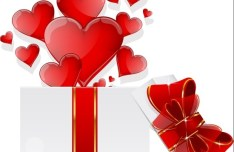 Happy Valentine's Day Glossy Red Heart Design Vector 03