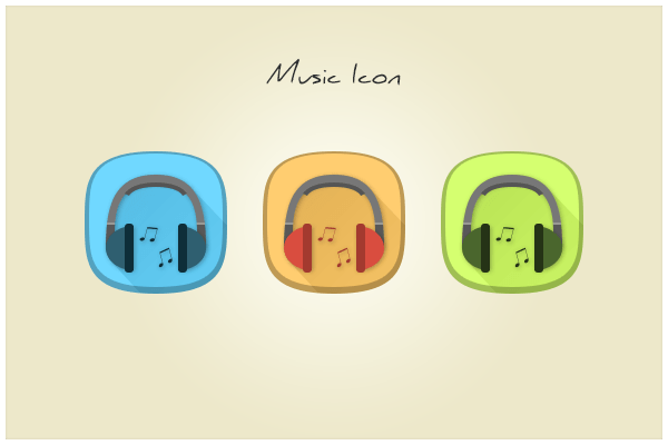 Flat Rounded Headphones Music Icons PSD