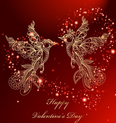 Gold Birds Background Vector For Happy Valentine's Day