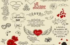 Set Of Vector Retro Valentine's Day Decorations