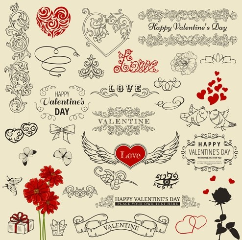 Set Of Vector Retro Valentine's Day Decorations