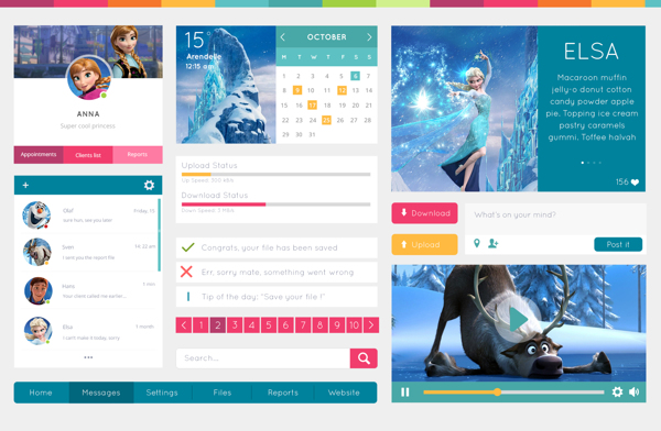 social network profile template - free disney frozen movie web ui kit psd titanui